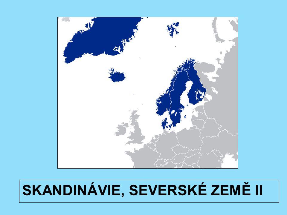 Přírodní poměry Povrch země silně modelován pevninským ledovcem => jezerní plošiny, morény, fjordy..) J a V plošiny, Z Skandinávské pohoří Island – sopečný původ, náhorní plošiny, sopky (150/26 činných), ledovce Většina regionu – tajga => Sever regionu – tundra => VYHLEDEJ GEOGRAFICKY VÝRAZNÉ CELKY TOHOTO REGIONU (např.