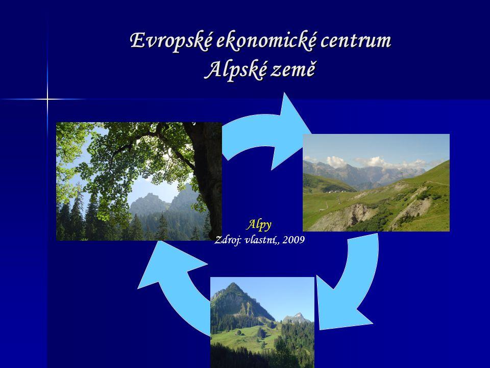 Evropské ekonomické centrum Alpské země Alpy Zdroj: vlastní,, 2009