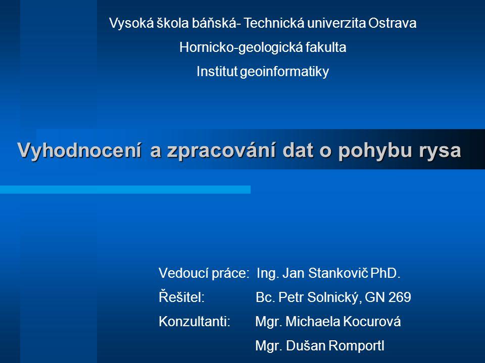 Vyhodnocení a zpracování dat o pohybu rysa Vedoucí práce: Ing. Jan Stankovič PhD. Řešitel: Bc. Petr Solnický, GN 269 Konzultanti: Mgr. Michaela Kocuro