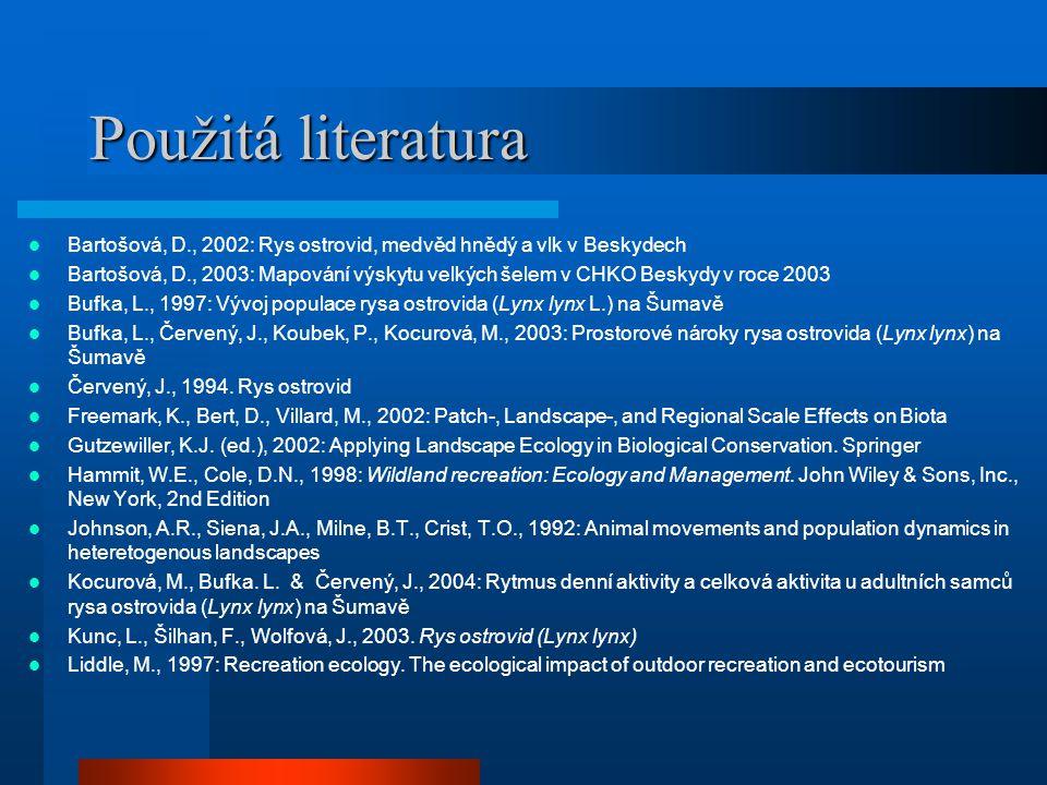 Použitá literatura Bartošová, D., 2002: Rys ostrovid, medvěd hnědý a vlk v Beskydech Bartošová, D., 2003: Mapování výskytu velkých šelem v CHKO Beskyd