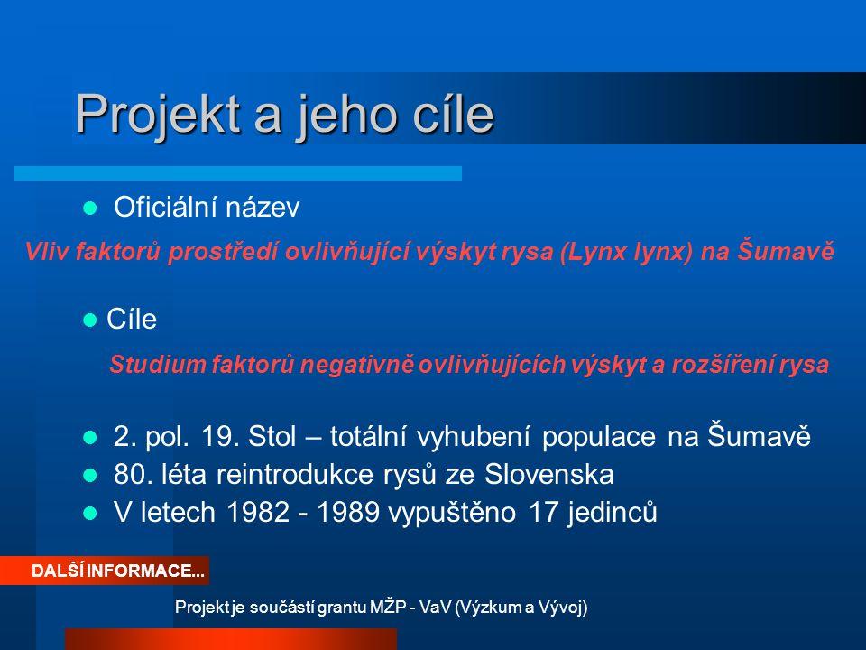 Projekt a jeho cíle Oficiální název 2. pol. 19. Stol – totální vyhubení populace na Šumavě 80. léta reintrodukce rysů ze Slovenska V letech 1982 - 198