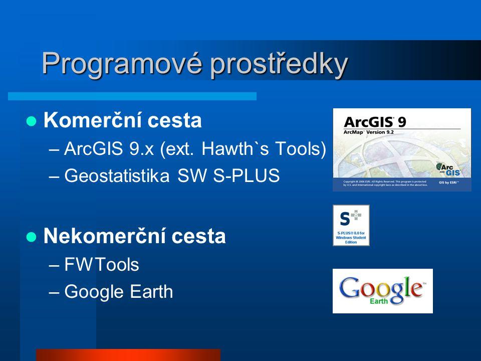 Programové prostředky Komerční cesta –ArcGIS 9.x (ext. Hawth`s Tools) –Geostatistika SW S-PLUS Nekomerční cesta –FWTools –Google Earth