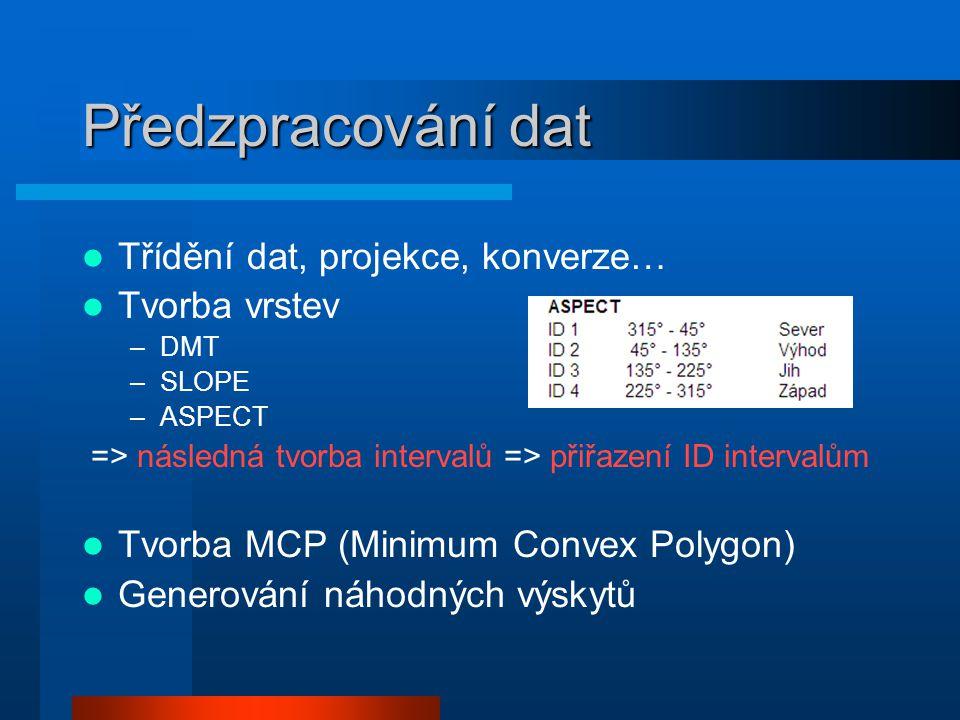 Předzpracování dat Třídění dat, projekce, konverze… Tvorba vrstev –DMT –SLOPE –ASPECT => následná tvorba intervalů => přiřazení ID intervalům Tvorba M