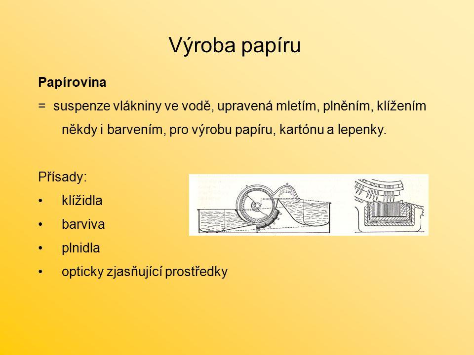 Výroba papíru Papírovina = suspenze vlákniny ve vodě, upravená mletím, plněním, klížením někdy i barvením, pro výrobu papíru, kartónu a lepenky. Přísa