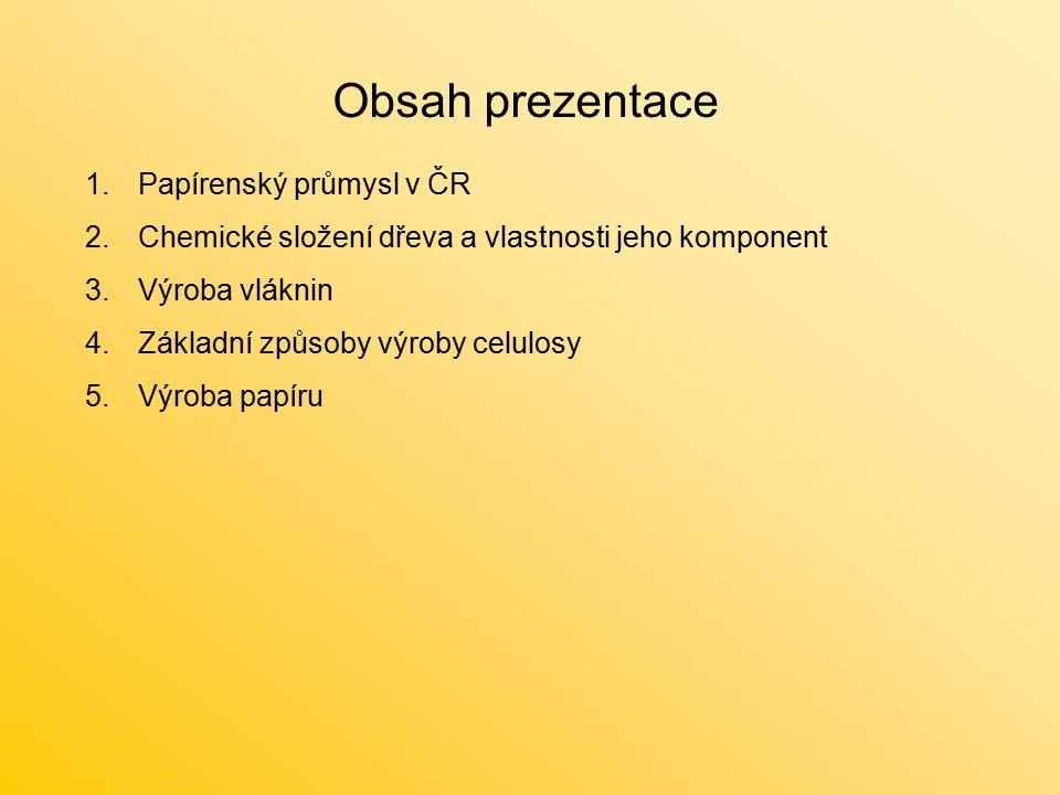 Obsah prezentace 1.Papírenský průmysl v ČR 2.Chemické složení dřeva a vlastnosti jeho komponent 3.Výroba vláknin 4.Základní způsoby výroby celulosy 5.