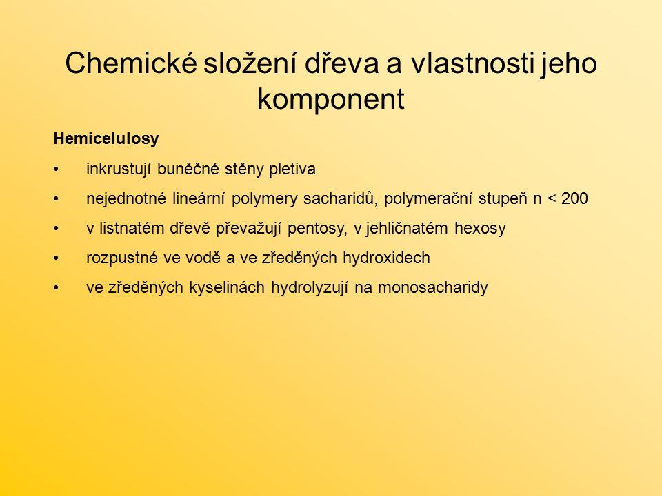 Chemické složení dřeva a vlastnosti jeho komponent Hemicelulosy inkrustují buněčné stěny pletiva nejednotné lineární polymery sacharidů, polymerační s