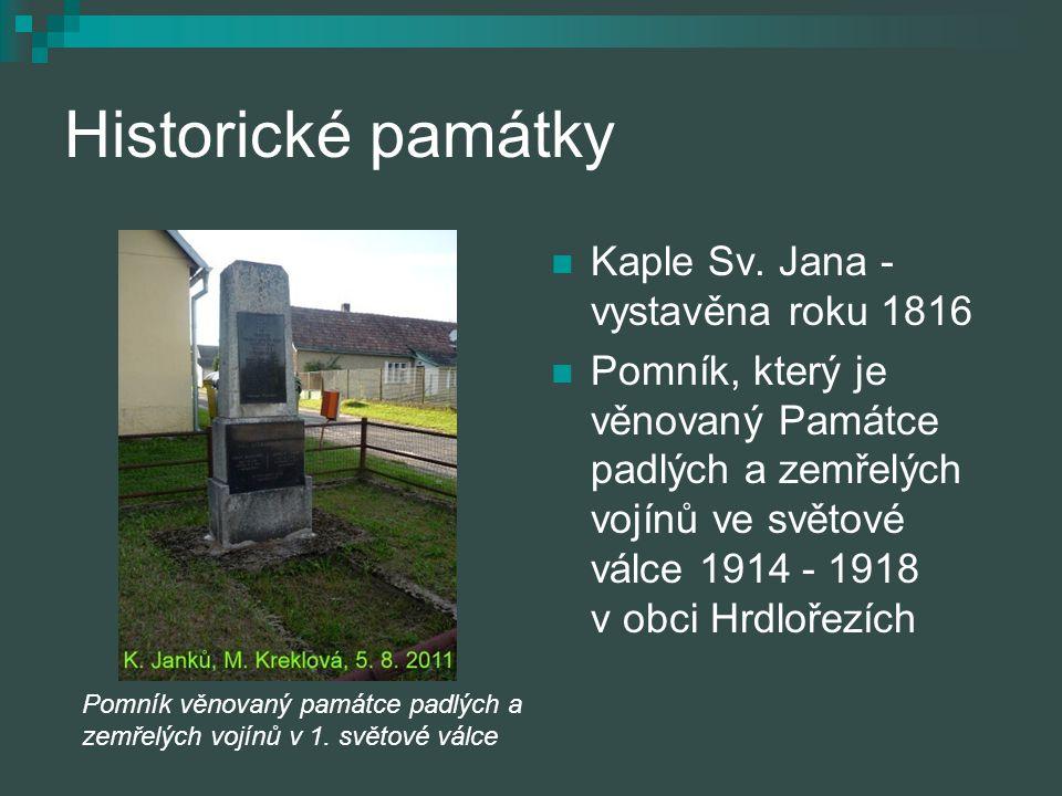 Historické památky Kaple Sv. Jana - vystavěna roku 1816 Pomník, který je věnovaný Památce padlých a zemřelých vojínů ve světové válce 1914 ‑ 1918 v ob
