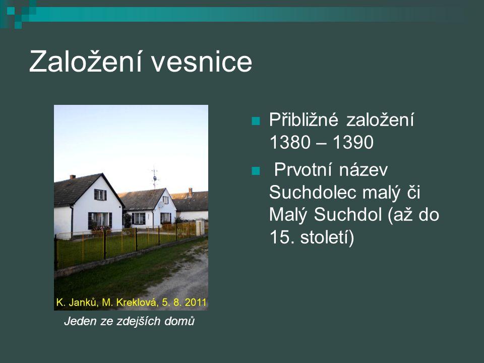 Založení vesnice Přibližné založení 1380 – 1390 Prvotní název Suchdolec malý či Malý Suchdol (až do 15. století) Jeden ze zdejších domů