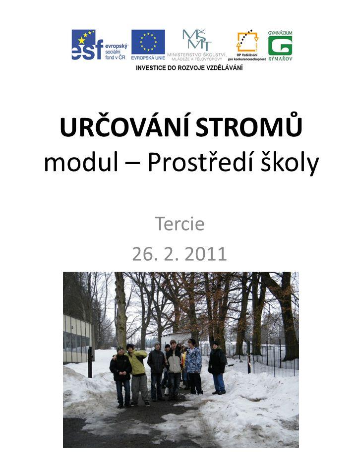 URČOVÁNÍ STROMŮ modul – Prostředí školy Tercie 26. 2. 2011