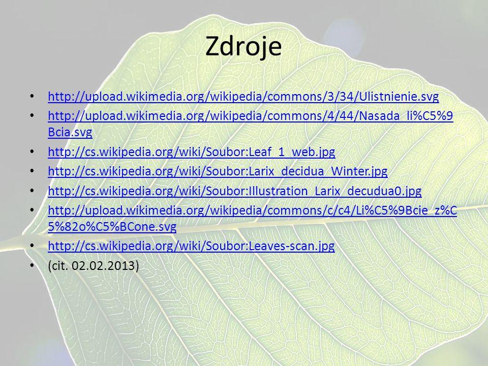 Zdroje http://upload.wikimedia.org/wikipedia/commons/3/34/Ulistnienie.svg http://upload.wikimedia.org/wikipedia/commons/4/44/Nasada_li%C5%9 Bcia.svg h