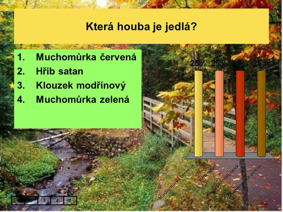 Která houba je jedlá? 12345 1.Muchomůrka červená 2.Hřib satan 3.Klouzek modřínový 4.Muchomůrka zelená