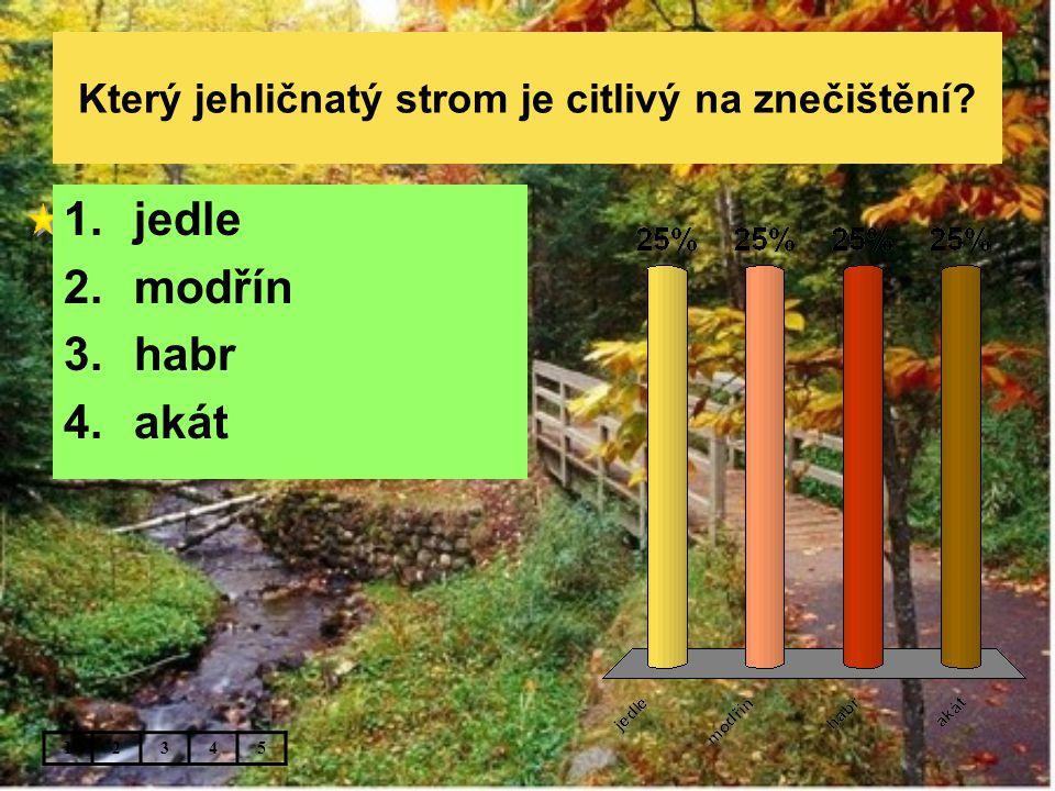 Který jehličnatý strom je citlivý na znečištění? 12345 1.jedle 2.modřín 3.habr 4.akát