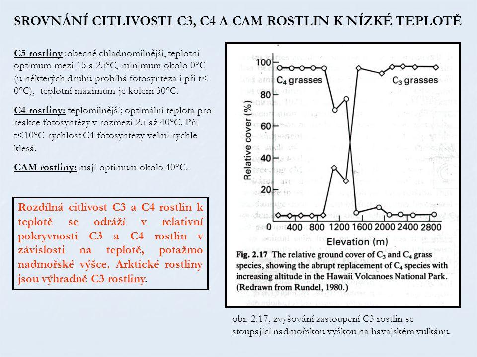 obr. 2.17, zvyšování zastoupení C3 rostlin se stoupající nadmořskou výškou na havajském vulkánu. SROVNÁNÍ CITLIVOSTI C3, C4 A CAM ROSTLIN K NÍZKÉ TEPL