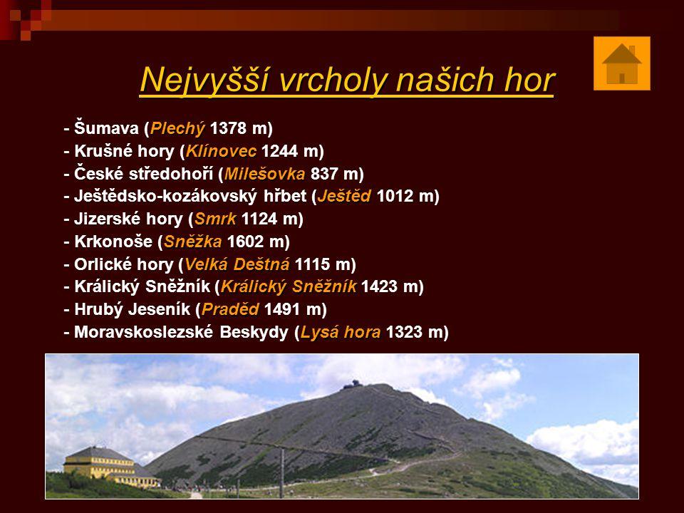 Nejvyšší vrcholy našich hor Plechý - Šumava (Plechý 1378 m) Klínovec - Krušné hory (Klínovec 1244 m) Milešovka - České středohoří (Milešovka 837 m) Je
