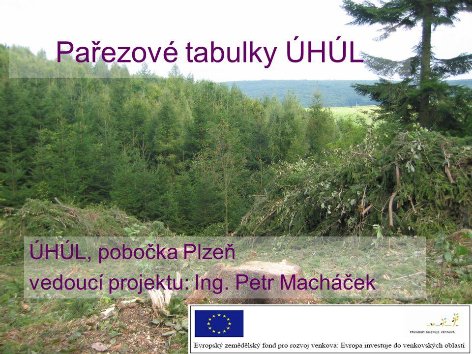 Pařezové tabulky ÚHÚL ÚHÚL, pobočka Plzeň vedoucí projektu: Ing. Petr Macháček