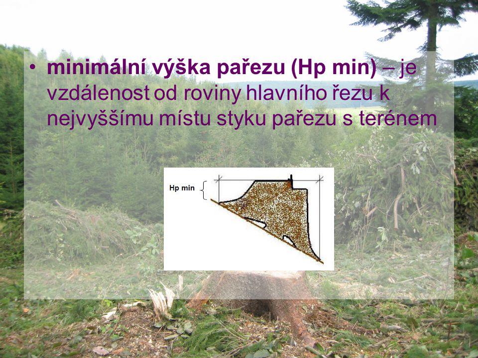 minimální výška pařezu (Hp min) – je vzdálenost od roviny hlavního řezu k nejvyššímu místu styku pařezu s terénem
