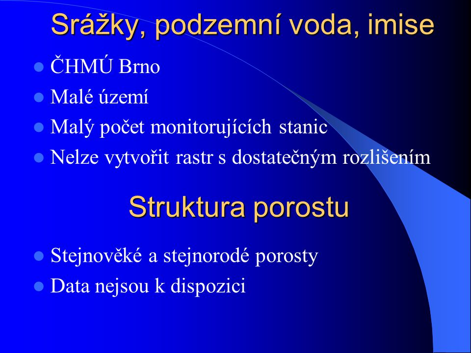 Srážky, podzemní voda, imise ČHMÚ Brno Malé území Malý počet monitorujících stanic Nelze vytvořit rastr s dostatečným rozlišením Struktura porostu Ste