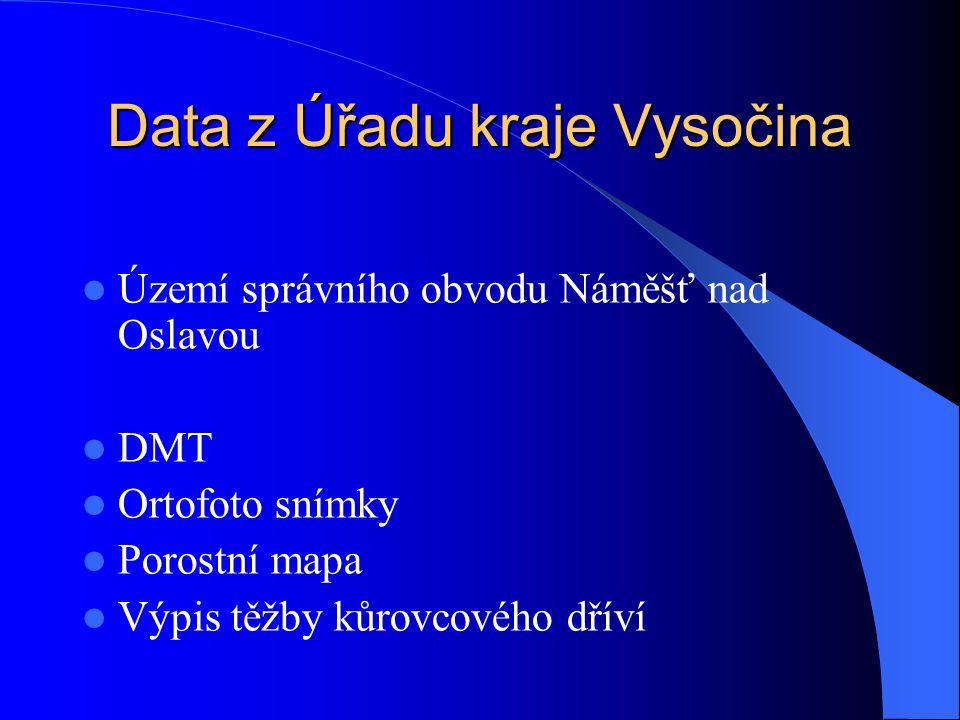 Data z Úřadu kraje Vysočina Území správního obvodu Náměšť nad Oslavou DMT Ortofoto snímky Porostní mapa Výpis těžby kůrovcového dříví