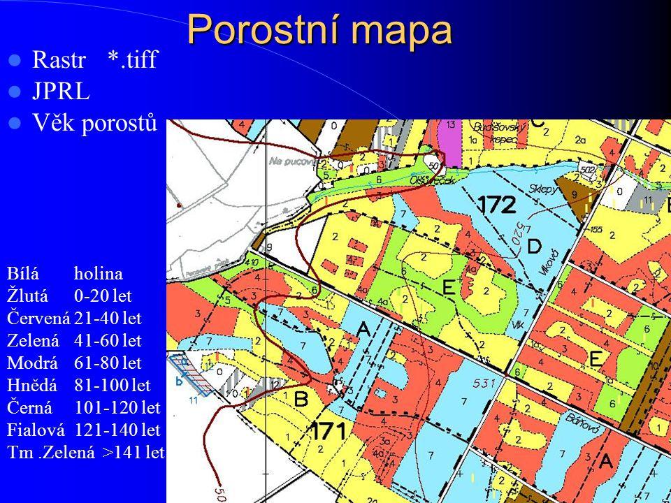 Porostní mapa Rastr *.tiff JPRL Věk porostů Bílá holina Žlutá0-20 let Červená 21-40 let Zelená41-60 let Modrá61-80 let Hnědá81-100 let Černá101-120 le