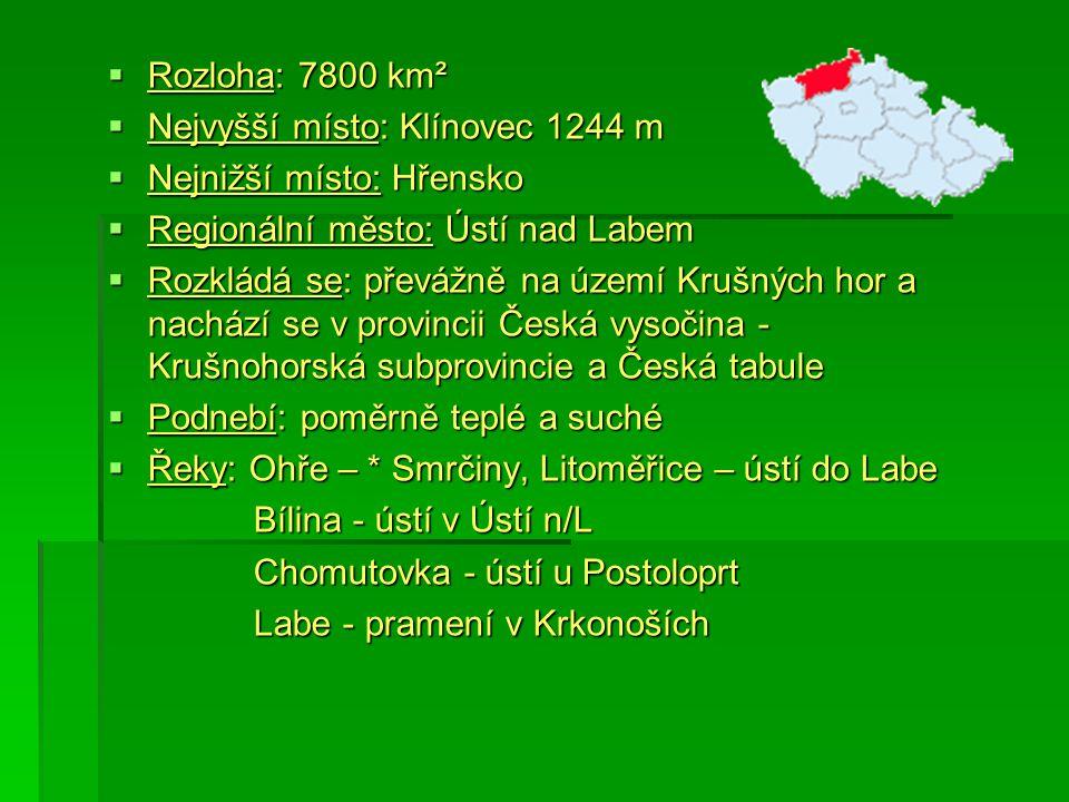  Rozloha: 7800 km²  Nejvyšší místo: Klínovec 1244 m  Nejnižší místo: Hřensko  Regionální město: Ústí nad Labem  Rozkládá se: převážně na území Kr