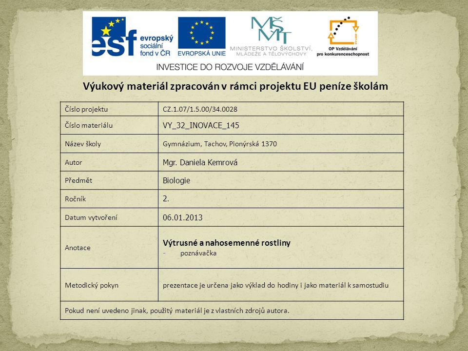 Číslo projektuCZ.1.07/1.5.00/34.0028 Číslo materiálu VY_32_INOVACE_145 Název školyGymnázium, Tachov, Pionýrská 1370 Autor Mgr.