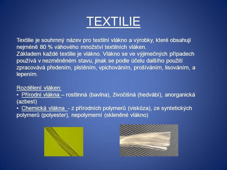 TEXTILIE Textilie je souhrnný název pro textilní vlákno a výrobky, které obsahují nejméně 80 % váhového množství textilních vláken. Základem každé tex