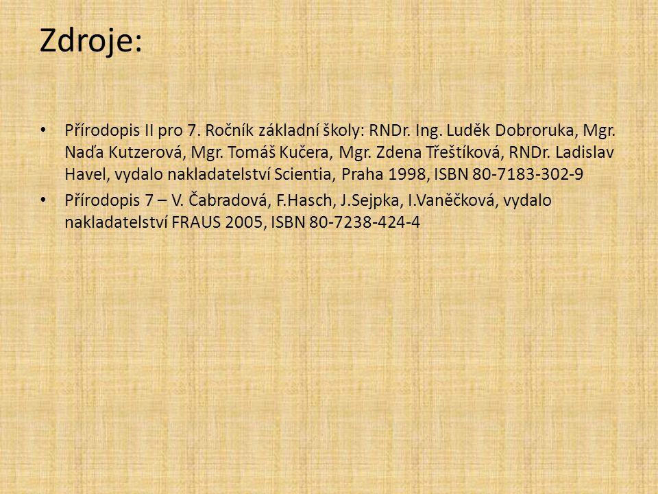 Zdroje: Přírodopis II pro 7. Ročník základní školy: RNDr. Ing. Luděk Dobroruka, Mgr. Naďa Kutzerová, Mgr. Tomáš Kučera, Mgr. Zdena Třeštíková, RNDr. L