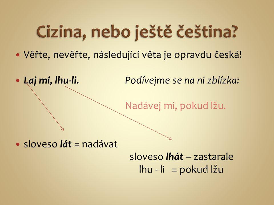 Věřte, nevěřte, následující věta je opravdu česká.