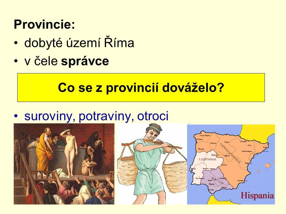 Provincie: dobyté území Říma v čele správce suroviny, potraviny, otroci Co se z provincií dováželo?