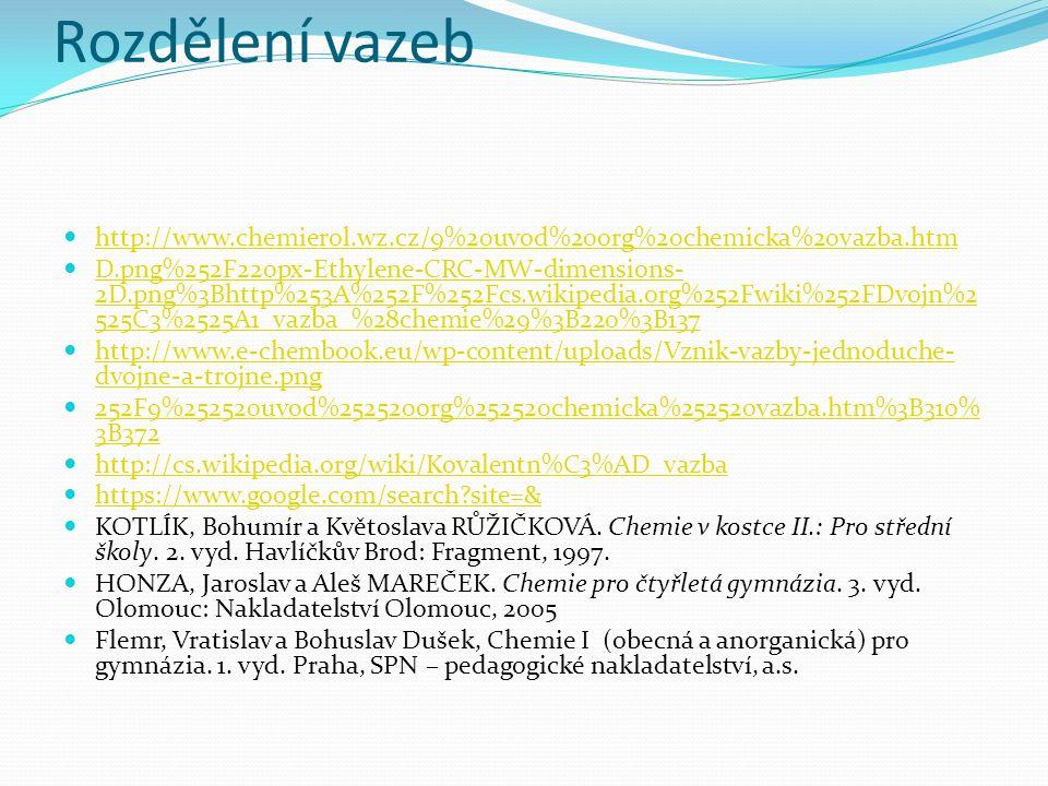 http://www.chemierol.wz.cz/9%20uvod%20org%20chemicka%20vazba.htm D.png%252F220px-Ethylene-CRC-MW-dimensions- 2D.png%3Bhttp%253A%252F%252Fcs.wikipedia.org%252Fwiki%252FDvojn%2 525C3%2525A1_vazba_%28chemie%29%3B220%3B137 D.png%252F220px-Ethylene-CRC-MW-dimensions- 2D.png%3Bhttp%253A%252F%252Fcs.wikipedia.org%252Fwiki%252FDvojn%2 525C3%2525A1_vazba_%28chemie%29%3B220%3B137 http://www.e-chembook.eu/wp-content/uploads/Vznik-vazby-jednoduche- dvojne-a-trojne.png http://www.e-chembook.eu/wp-content/uploads/Vznik-vazby-jednoduche- dvojne-a-trojne.png 252F9%252520uvod%252520org%252520chemicka%252520vazba.htm%3B310% 3B372 252F9%252520uvod%252520org%252520chemicka%252520vazba.htm%3B310% 3B372 http://cs.wikipedia.org/wiki/Kovalentn%C3%AD_vazba https://www.google.com/search site=& KOTLÍK, Bohumír a Květoslava RŮŽIČKOVÁ.