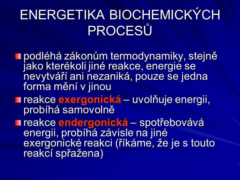ENERGETIKA BIOCHEMICKÝCH PROCESŮ podléhá zákonům termodynamiky, stejně jako kterékoli jiné reakce, energie se nevytváří ani nezaniká, pouze se jedna forma mění v jinou reakce exergonická – uvolňuje energii, probíhá samovolně reakce endergonická – spotřebovává energii, probíhá závisle na jiné exergonické reakci (říkáme, že je s touto reakcí spřažena)