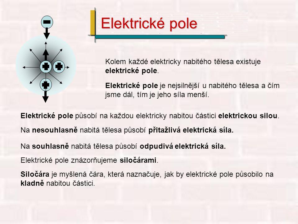 Kolem každé elektricky nabitého tělesa existuje elektrické pole. Elektrické pole je nejsilnější u nabitého tělesa a čím jsme dál, tím je jeho síla men