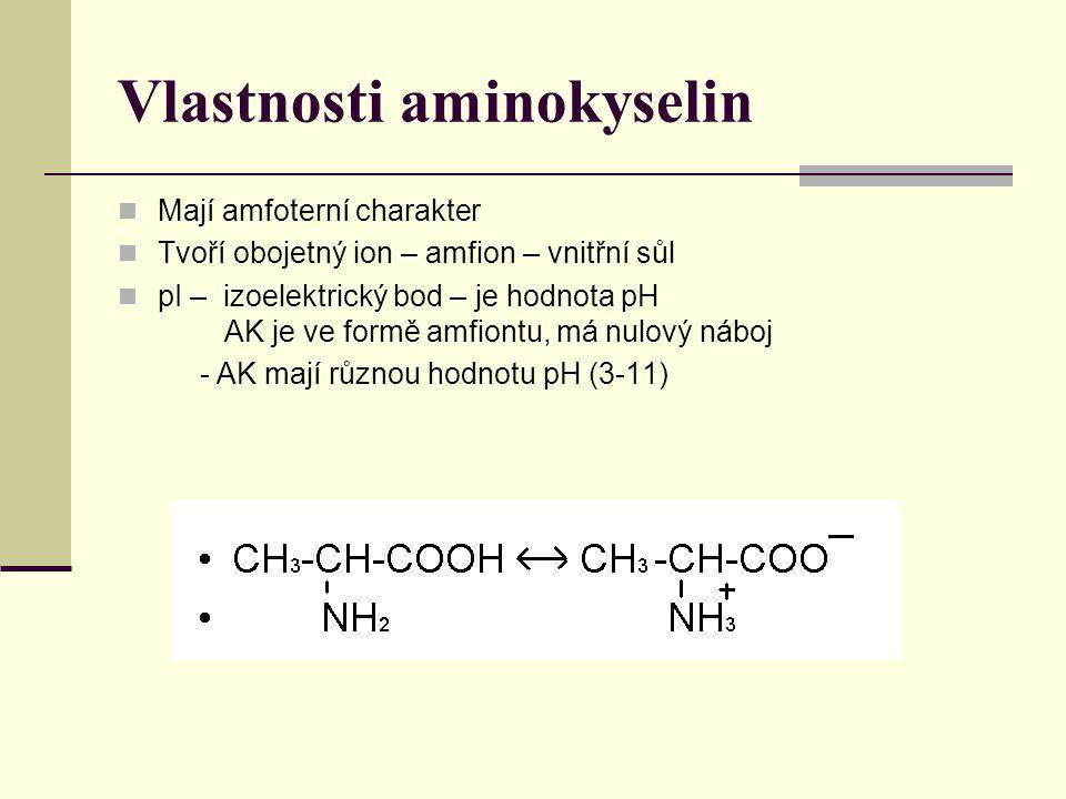 Vlastnosti aminokyselin Mají amfoterní charakter Tvoří obojetný ion – amfion – vnitřní sůl pI – izoelektrický bod – je hodnota pH AK je ve formě amfiontu, má nulový náboj - AK mají různou hodnotu pH (3-11)