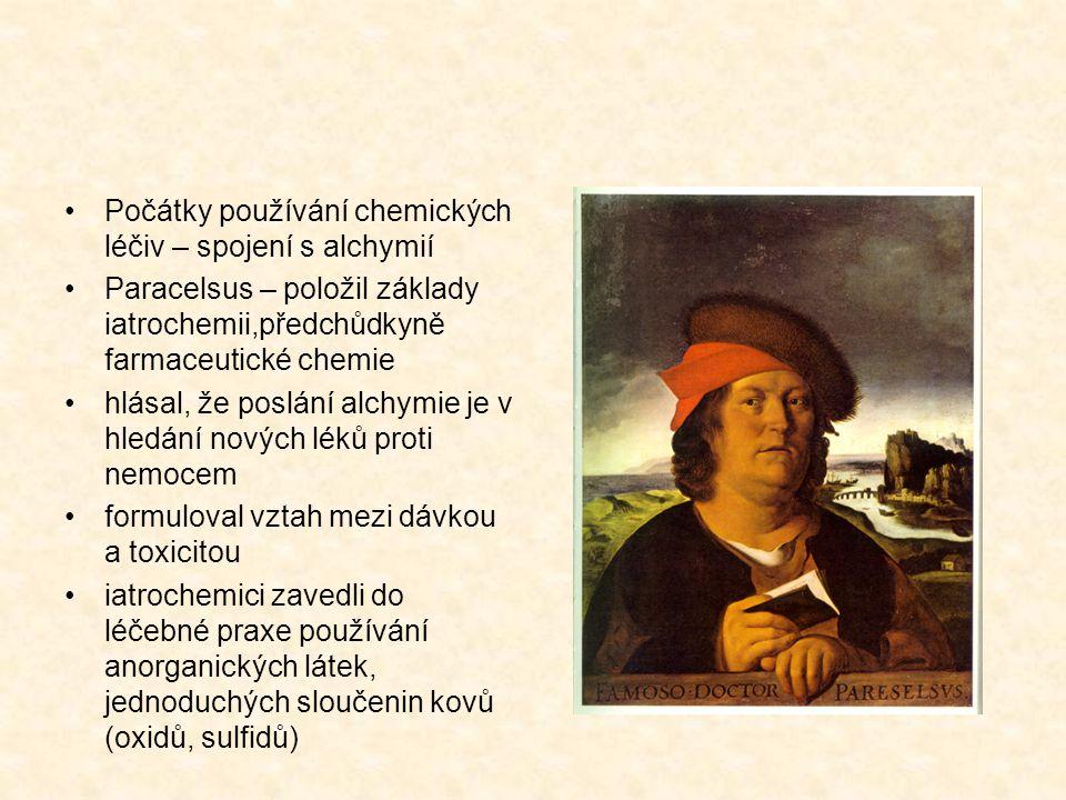 2.Léčiva druhé generace chemické látky z období iatrochemie a období rozvoje org.