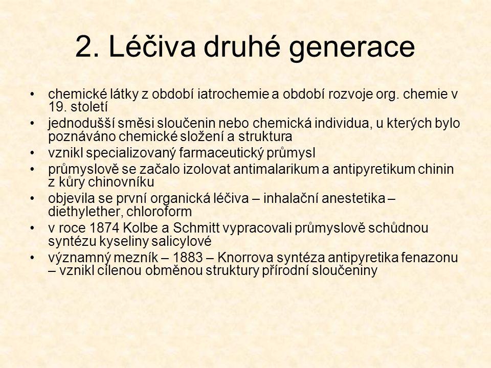 2. Léčiva druhé generace chemické látky z období iatrochemie a období rozvoje org. chemie v 19. století jednodušší směsi sloučenin nebo chemická indiv