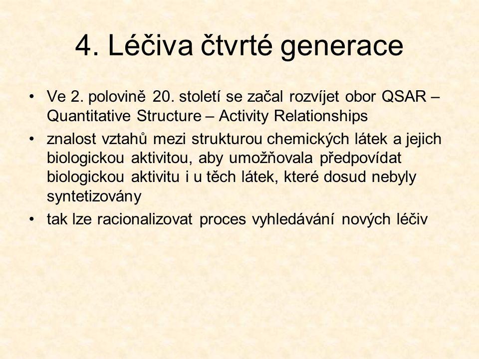4. Léčiva čtvrté generace Ve 2. polovině 20. století se začal rozvíjet obor QSAR – Quantitative Structure – Activity Relationships znalost vztahů mezi