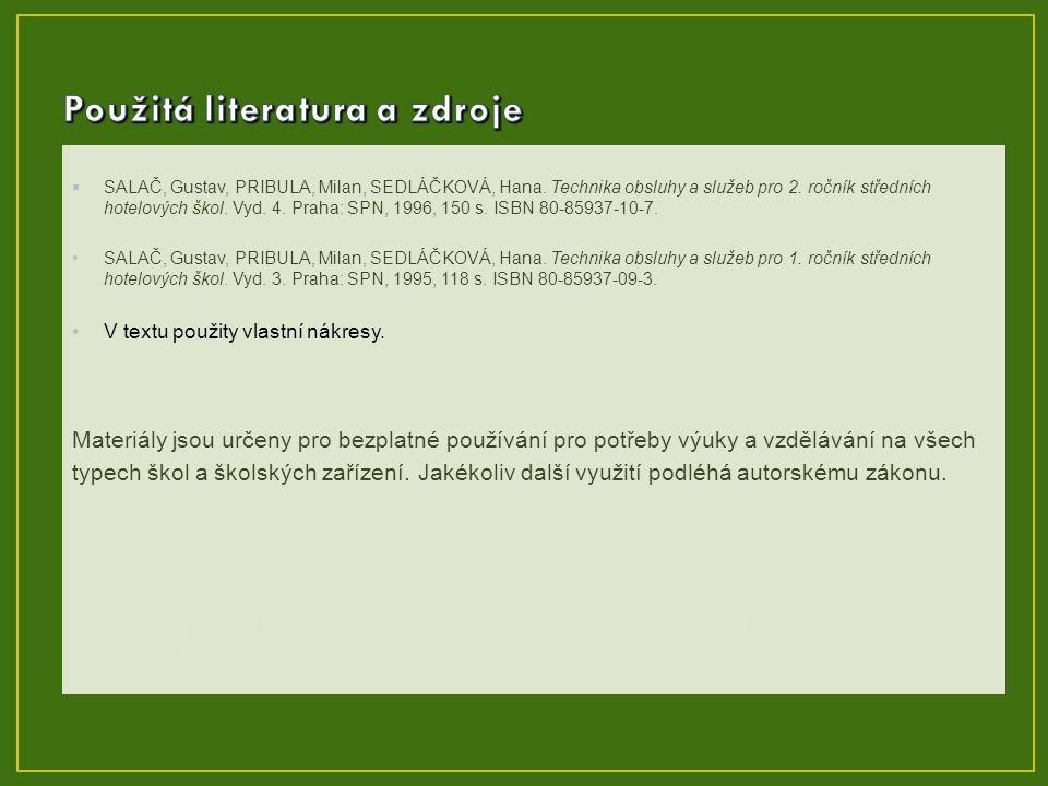  SALAČ, Gustav, PRIBULA, Milan, SEDLÁČKOVÁ, Hana. Technika obsluhy a služeb pro 2. ročník středních hotelových škol. Vyd. 4. Praha: SPN, 1996, 150 s.