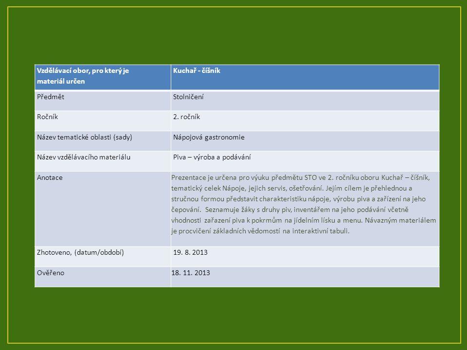 Vzdělávací obor, pro který je materiál určen Kuchař - číšník Předmět Stolničení Ročník 2. ročník Název tematické oblasti (sady) Nápojová gastronomie N
