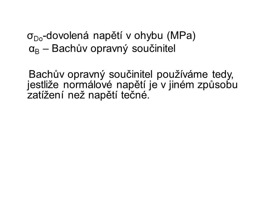 σ Do -dovolená napětí v ohybu (MPa) α B – Bachův opravný součinitel Bachův opravný součinitel používáme tedy, jestliže normálové napětí je v jiném způ
