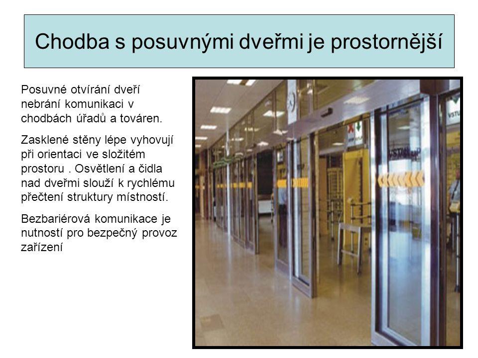 Chodba s posuvnými dveřmi je prostornější Posuvné otvírání dveří nebrání komunikaci v chodbách úřadů a továren. Zasklené stěny lépe vyhovují při orien
