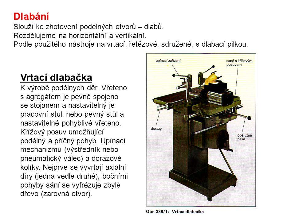 Řetězové dlabačky Slouží k výrobě dlabů nebo dlabání rozměrných děr (zámky).