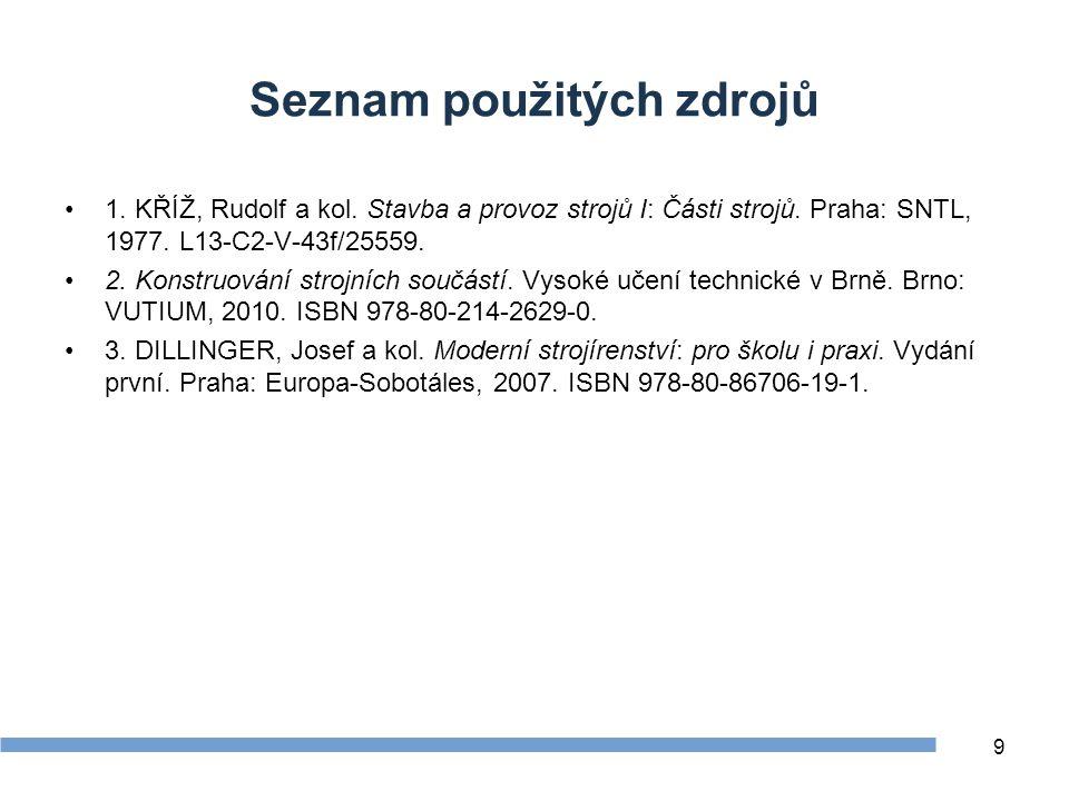 Seznam použitých zdrojů 1.KŘÍŽ, Rudolf a kol. Stavba a provoz strojů I: Části strojů.