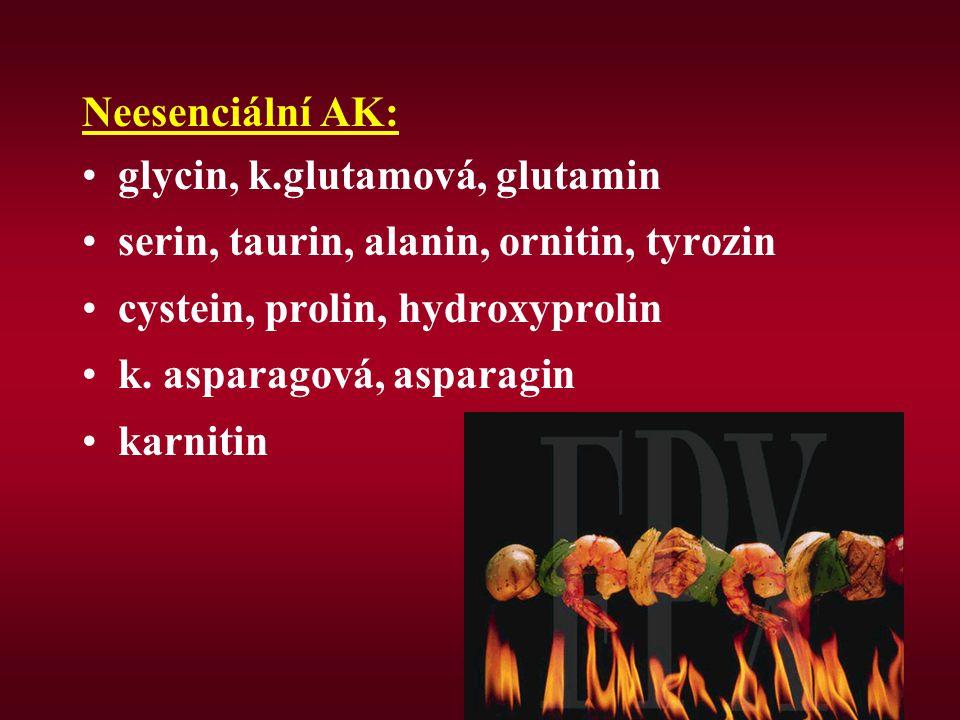 Neesenciální AK: glycin, k.glutamová, glutamin serin, taurin, alanin, ornitin, tyrozin cystein, prolin, hydroxyprolin k. asparagová, asparagin karniti