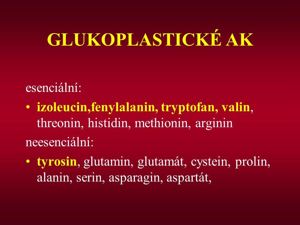 GLUKOPLASTICKÉ AK esenciální: izoleucin,fenylalanin, tryptofan, valin, threonin, histidin, methionin, arginin neesenciální: tyrosin, glutamin, glutamá