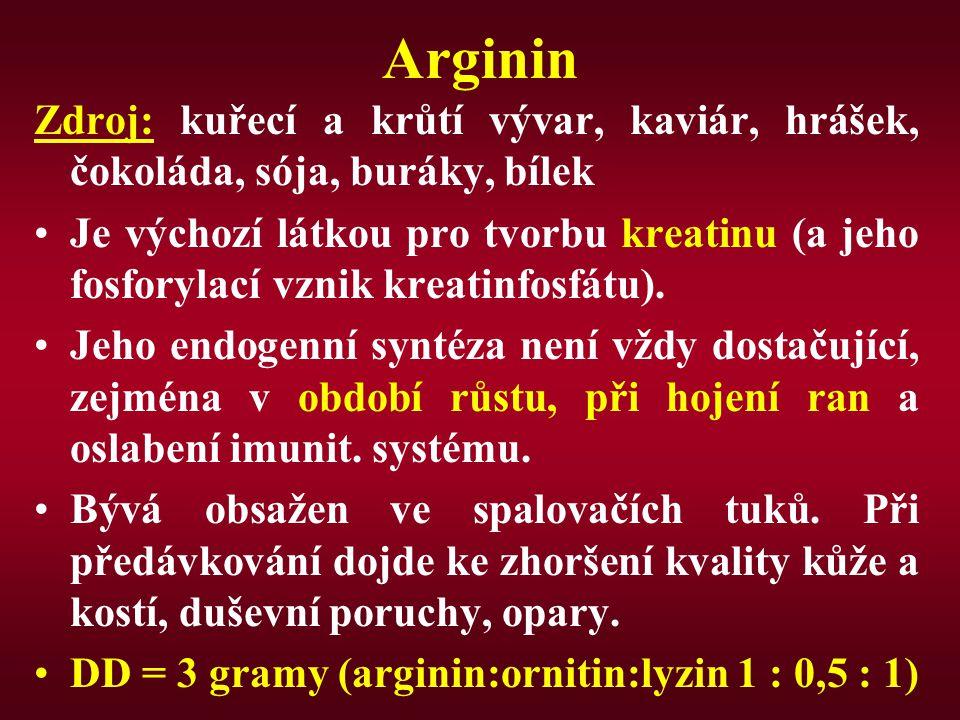 Arginin Zdroj: kuřecí a krůtí vývar, kaviár, hrášek, čokoláda, sója, buráky, bílek Je výchozí látkou pro tvorbu kreatinu (a jeho fosforylací vznik kre