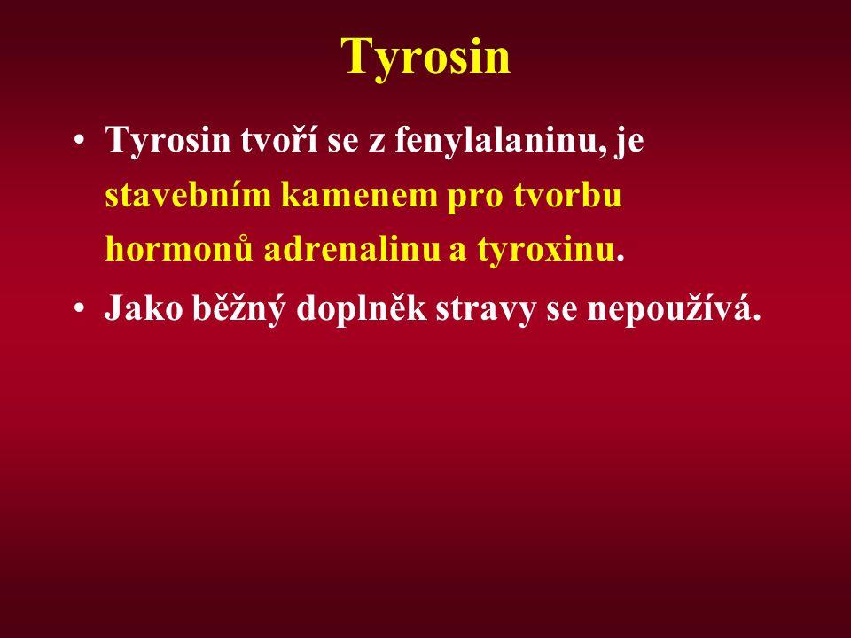Tyrosin Tyrosin tvoří se z fenylalaninu, je stavebním kamenem pro tvorbu hormonů adrenalinu a tyroxinu. Jako běžný doplněk stravy se nepoužívá.