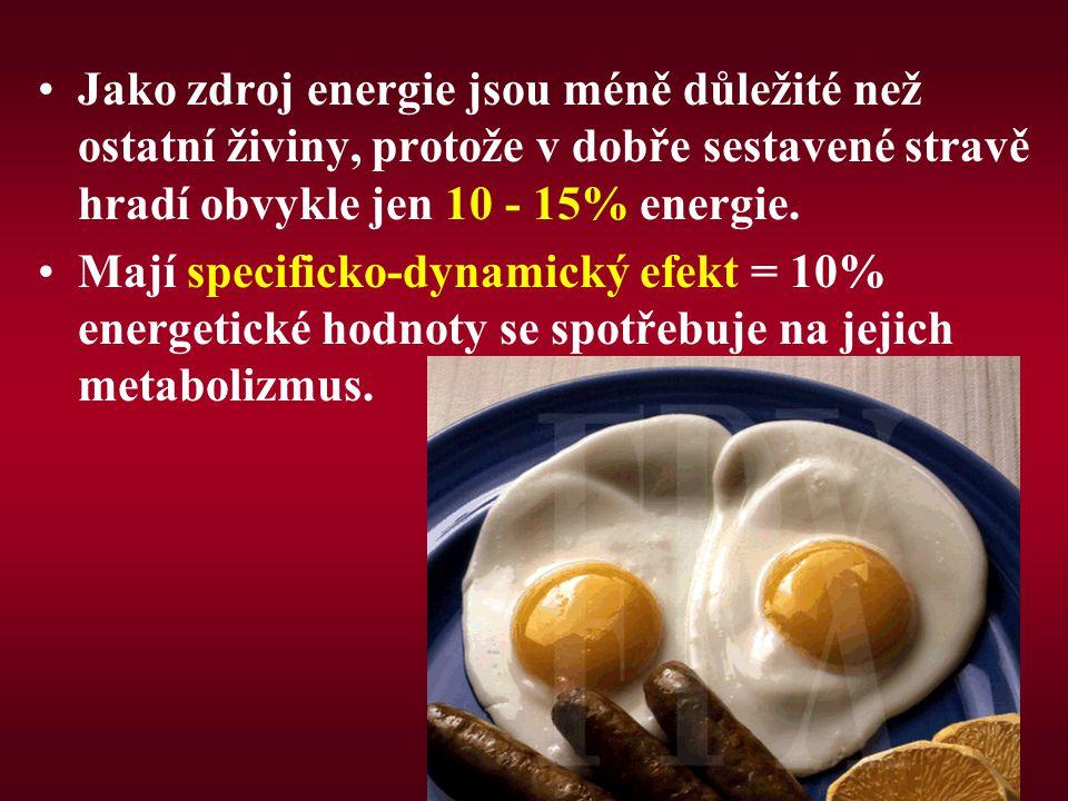Jako zdroj energie jsou méně důležité než ostatní živiny, protože v dobře sestavené stravě hradí obvykle jen 10 - 15% energie. Mají specificko-dynamic