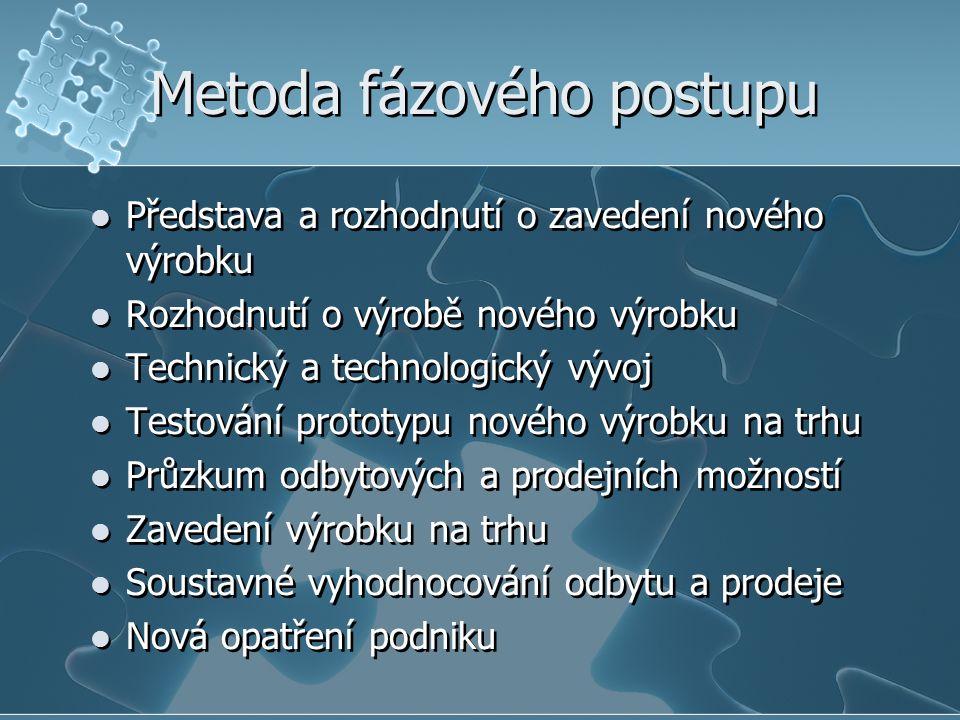 Metoda fázového postupu Představa a rozhodnutí o zavedení nového výrobku Rozhodnutí o výrobě nového výrobku Technický a technologický vývoj Testování