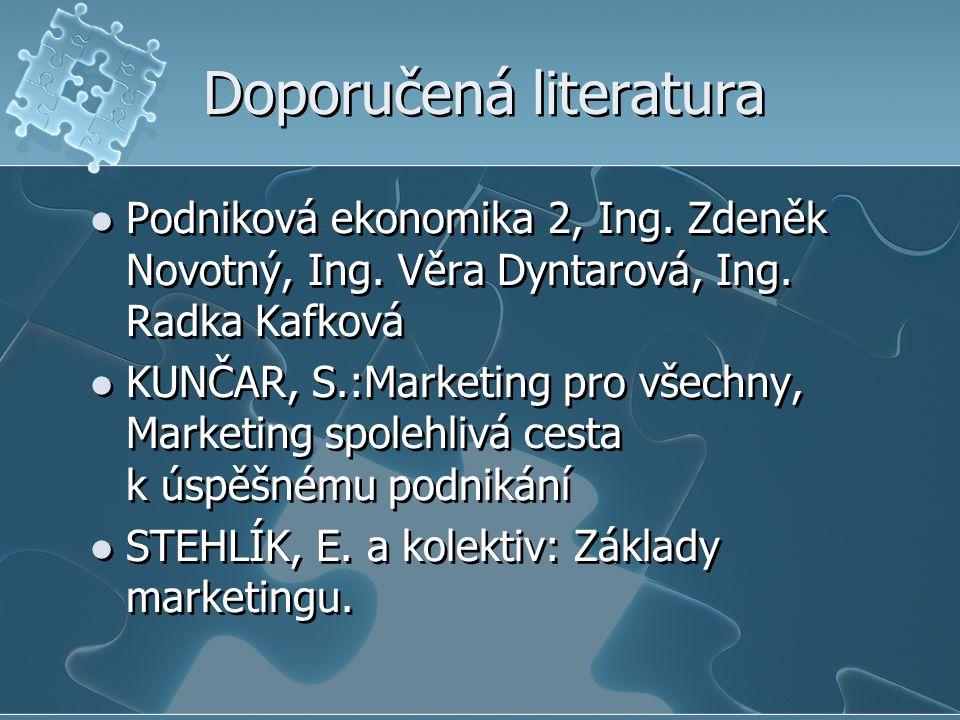 Doporučená literatura Podniková ekonomika 2, Ing. Zdeněk Novotný, Ing. Věra Dyntarová, Ing. Radka Kafková KUNČAR, S.:Marketing pro všechny, Marketing