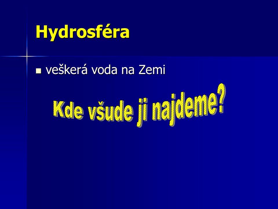 Hydrosféra veškerá voda na Zemi veškerá voda na Zemi